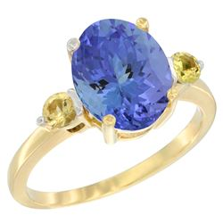 2.63 CTW Tanzanite & Yellow Sapphire Ring 14K Yellow Gold - REF-63N7Y