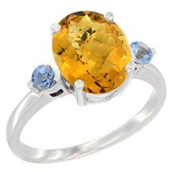 2.64 CTW Quartz & Blue Sapphire Ring 14K White Gold - REF-31W4F