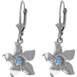 Genuine 0.20 CTW Blue Topaz Earrings 14KT White Gold - REF-65P6H