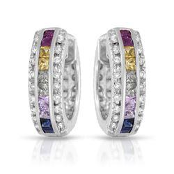 Natural 2.89 CTW Multi-Sapphire & Diamond Earrings 14K White Gold - REF-118K8R