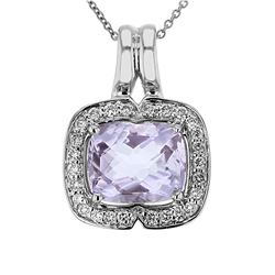 Natural 4.19 CTW Amethyst & Diamond Necklace 14K Gold - REF-73F8M