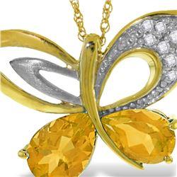Genuine 3.28 ctw Citrine & Diamond Necklace 14KT Yellow Gold - REF-110F4Z