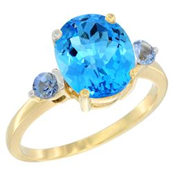 2.64 CTW Swiss Blue Topaz & Blue Sapphire Ring 14K Yellow Gold - REF-32N3Y