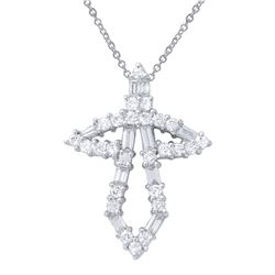 Natural 1.14 CTW Diamond & Baguette Necklace 18K White Gold - REF-156K6R
