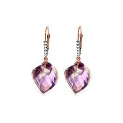 Genuine 21.65 ctw Amethyst & Diamond Earrings 14KT Rose Gold - REF-57R6P