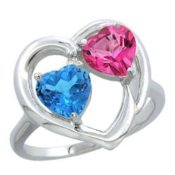 2.61 CTW Diamond, Swiss Blue Topaz & Pink Topaz Ring 10K White Gold - REF-23R7H