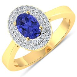 Natural 0.91 CTW Tanzanite & Diamond Ring 14K Yellow Gold - REF-35W9X