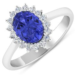 Natural 1.82 CTW Tanzanite & Diamond Ring 14K White Gold - REF-60R3F