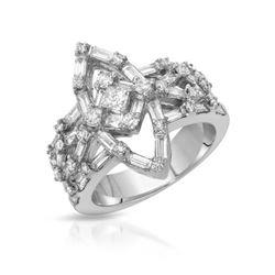 Natural 1.61 CTW Baguette & Diamond Ring 18K White Gold - REF-256T5X