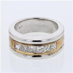 Natural 1.08 CTW Princess Diamond Band Ring W=8MM 14K Gold - REF-251F3M