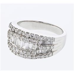 Natural 1.53 CTW Diamond & Baguette Ring 18K White Gold - REF-223F2M