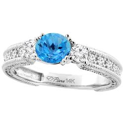 1.55 CTW Swiss Blue Topaz & Diamond Ring 14K White Gold - REF-85V5R