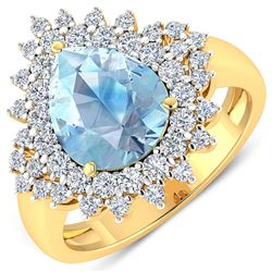 Natural 3.19 CTW Aquamarine & Diamond Ring 14K Yellow Gold - REF-115K6W