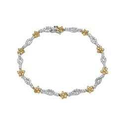 Natural 2.46 CTW Diamond & Yellow Round Diamond Bracelet 14K Two Tone Yellow Gold - REF-172T8X