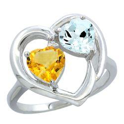 2.61 CTW Diamond, Citrine & Aquamarine Ring 14K White Gold - REF-38H2M