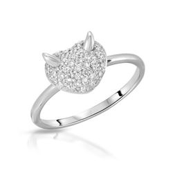 Natural 0.31 CTW Diamond Ring 18K White Gold - REF-60N3Y
