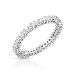 Natural 1 CTW Princess Diamond Band Ring 18K White Gold - REF-128K7R