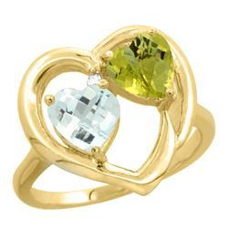 2.61 CTW Diamond, Aquamarine & Lemon Quartz Ring 14K Yellow Gold - REF-37R7H