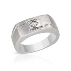 Natural 0.17 CTW Princess Diamond Ring 14K White Gold - REF-102T6X