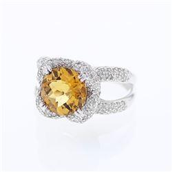 Natural 4.38 CTW Citrine & Diamond Ring 14K White Gold - REF-108T9X