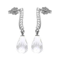 Genuine 4.78 ctw White Topaz & Diamond Earrings 14KT White Gold - REF-46M2T