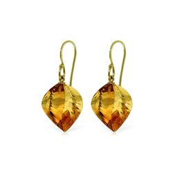 Genuine 23.5 ctw Citrine Earrings 14KT Yellow Gold - REF-39A3K