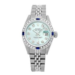 Rolex Pre-owned 26mm Womens Custom Ice Blue Dial Stainless Steel