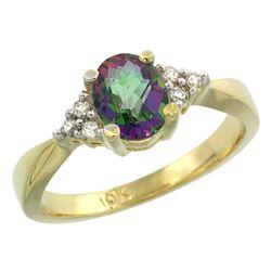 1.06 CTW Mystic Topaz & Diamond Ring 10K Yellow Gold - REF-28R4H