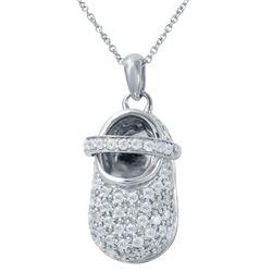 Natural 1 CTW Diamond Necklace 14K White Gold - REF-142T2X
