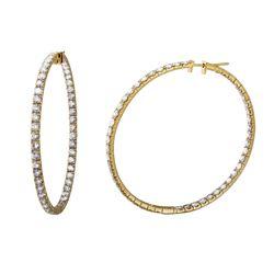 Natural 8.4 CTW Diamond Earrings 14K Yellow Gold - REF-873N2Y