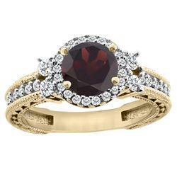 1.46 CTW Garnet & Diamond Ring 14K Yellow Gold - REF-77W9F