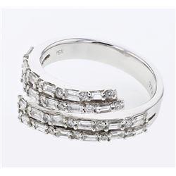 Natural 1.01 CTW Baguette & Diamond Ring 18K White Gold - REF-144W2H