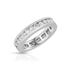 Natural 1.58 CTW Diamond Band Ring 14K White Gold - REF-153W9H