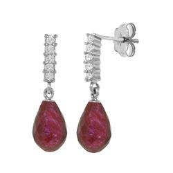 Genuine 6.75 ctw Ruby & Diamond Earrings 14KT White Gold - REF-39W4Y