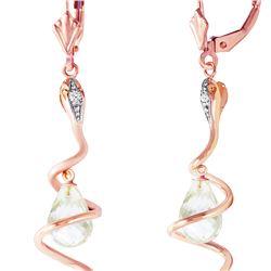 Genuine 4.56 ctw White Topaz & Diamond Earrings 14KT Rose Gold - REF-91M4T