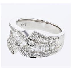 Natural 1.43 CTW Baguette & Diamond Ring 18K White Gold - REF-203N4Y