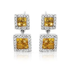 Natural 1.41 CTW Yellow Sapphire & Diamond Earrings 14K White Gold - REF-63F9M