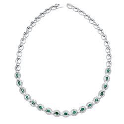 Natural 6.50 CTW Emerald & Diamond Necklace 14K White Gold - REF-638F3M
