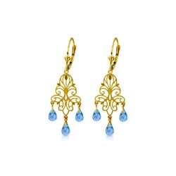 Genuine 3.75 ctw Blue Topaz Earrings 14KT Yellow Gold - REF-46P7H