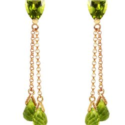 Genuine 7.5 ctw Peridot Earrings 14KT Rose Gold - REF-39F3Z