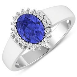 Natural 2.4 CTW Tanzanite & Diamond Ring 14K White Gold - REF-50X6K