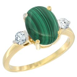 2.95 CTW Malachite & Diamond Ring 14K Yellow Gold - REF-66V8R