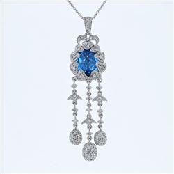 Natural 5.95 CTW Topaz & Diamond Necklace 14K White Gold - REF-135N9Y