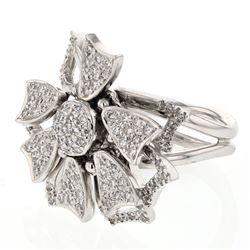 Natural 0.97 CTW Diamond Ring 18K White Gold - REF-243N9Y