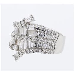 Natural 2.18 CTW Baguette & Diamond Ring 18K White Gold - REF-286N2Y