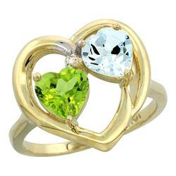 2.61 CTW Diamond, Peridot & Aquamarine Ring 10K Yellow Gold - REF-27W9F