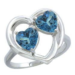 2.60 CTW London Blue Topaz & London Blue Topaz Ring 10K White Gold - REF-24K4W