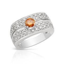 Natural 0.74 CTW Diamond & Yellow Round Diamond Ring 18K White Gold - REF-144N9Y