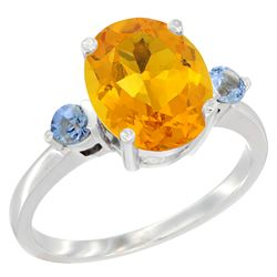 2.64 CTW Citrine & Blue Sapphire Ring 10K White Gold - REF-24M5A