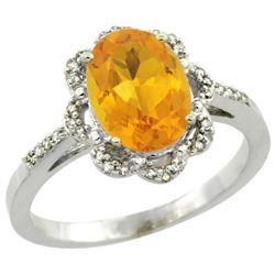 1.94 CTW Citrine & Diamond Ring 14K White Gold - REF-45V8R